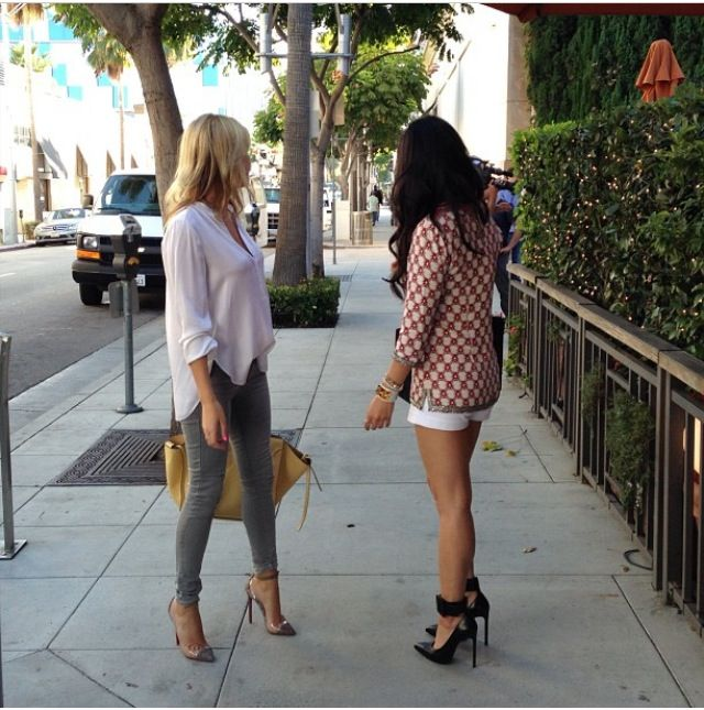 Love the jeans outfit - casual combo of grey skinny, white blouse and yellow celine phantom // morgan stewart and dorothy wang of rich kids of Beverly Hills