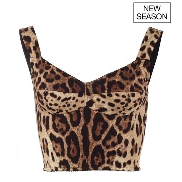 Dolce & Gabbana Brown silk leopard print bralet top (£645) ❤ liked on Polyvore featuring tops, shirts, white bralette tops, white crop tops, leopard crop top, sport shirt and spaghetti strap crop top