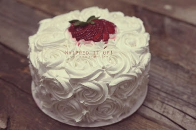Vanilla Bean cake with fresh strawberry whipped filling and whipped ...