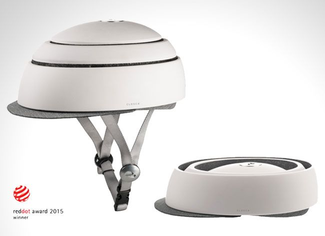 The Closca Fuga Bike Helmet Collapses to Fit Flat in your Bag.