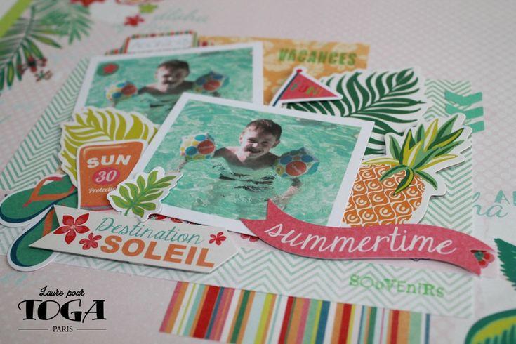 Page de scrapbooking Destination Soleil - Collection Waïkiki Toga