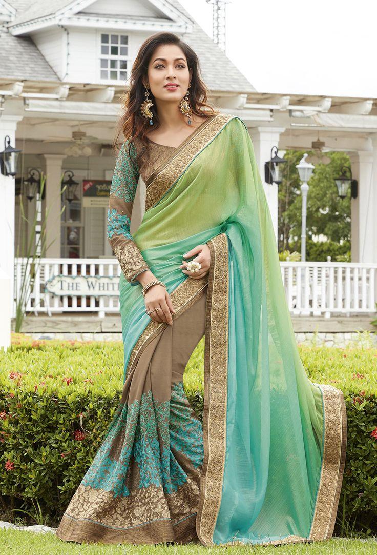 Green,Blue #Georgette,#Net #Designer #Saree #nikvik  #usa #designer #australia #canada #freeshipping #dress #saris