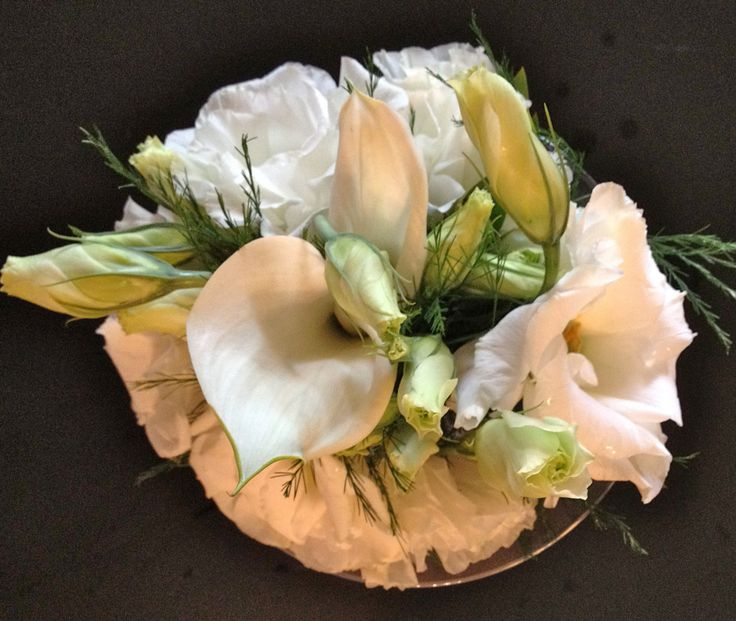 White Calla with White and Green Lisianthus bouquet by Alta Fleura