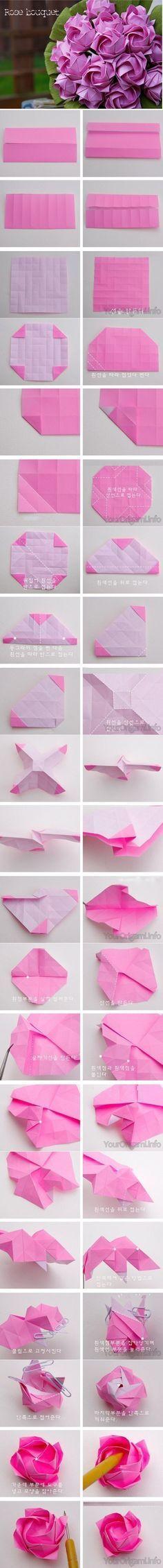DIY-Beautiful-Origami-Paper-Roses tutorial