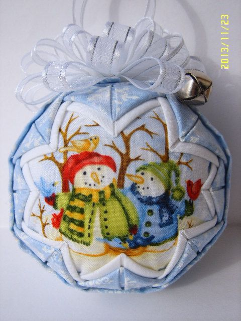 Snow Family Quilted Ornament by JCCrafts on Etsy, $18.00