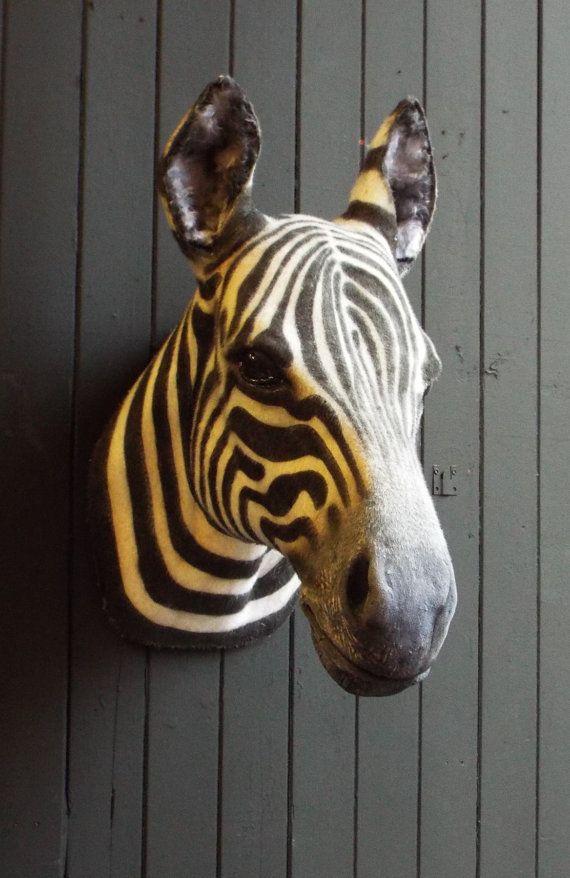 Faux Taxidermy Zebra Head Animal Friendly Decorative Art