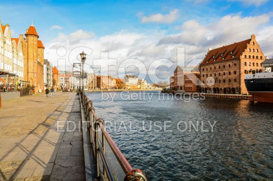 The Old Town of Gdansk by the river Motlawa royalty-free stock photo
