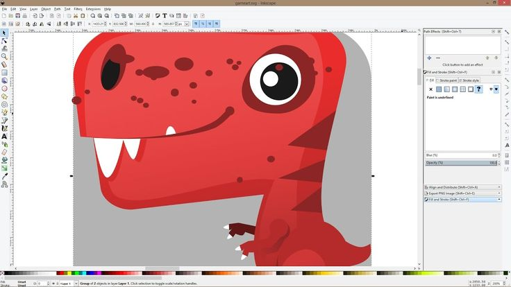 Cute T-rex game character time lapse video with Inkscape