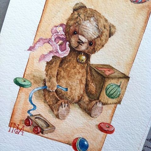 Скоро напечатаю вот такие открыточки с Трюфелем! Буду слать их Вам! Рисунок акварелью замечательной художницы  @inga_izmaylova ! #мишка#мишкатедди#медведьтедди#теддимедведь#открытка#рисунок#рисунокакварелью#ручнаяработа#postcrossing#postcard