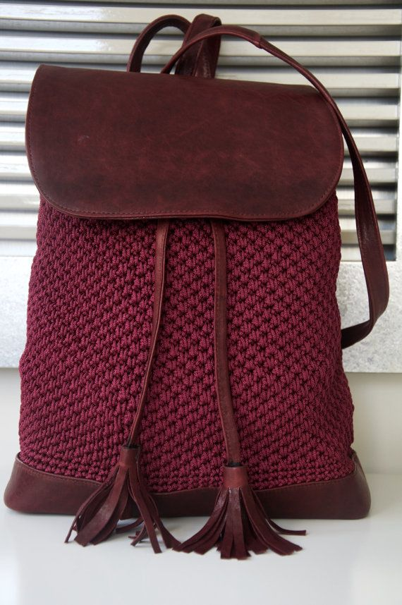 Claret Red Backpack by PELLSatelier on Etsy
