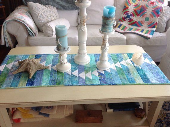 Come Fly With Me Beach Themed Table Runner Hand Made Turquoise