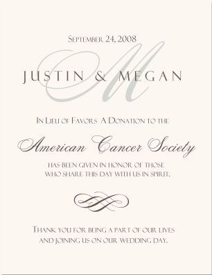 donation cards as wedding favors - Google Search juvenile diabetes association and american cancer society .