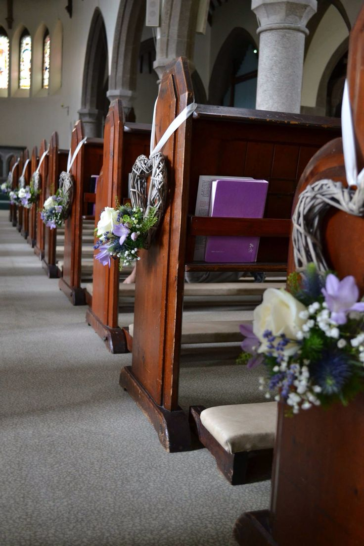 Wicker heart pew ends by Tracy Qs Cornwall Wedding Flowers