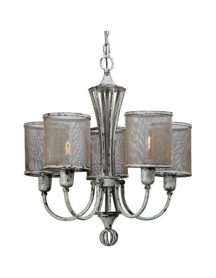 Pontoise Five Light Chandelier by Uttermost  Beautifully crafted, we can't say enough about this fantastic 5 light chandelier and all its wonderful details.  Based on a traditional chandelier form featuring 5 graceful arms, this fixture is a lovely blend of modern, shabby chic and industrial that come together marvelously to create a stunning fixture that would truly be at home in pretty much any aesthetic.
