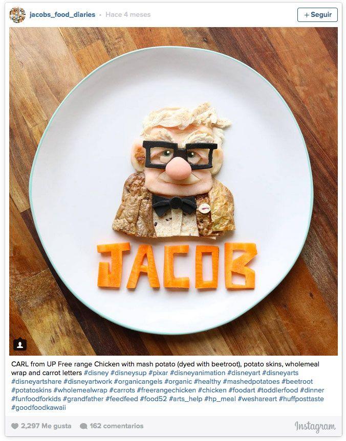 puré de patatas de color rosa (mezclado con un poquito de remolacha), patatas asadas, wrap integral y zanahorias, dan forma a Jacob, el protagonista de la película 'Up'.