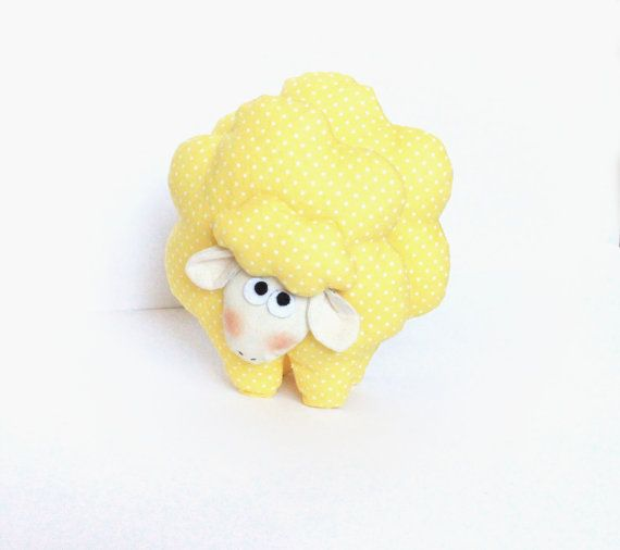 Cute textile sheep toy  polka dot  yellow by MiracleInspiration, $22.50