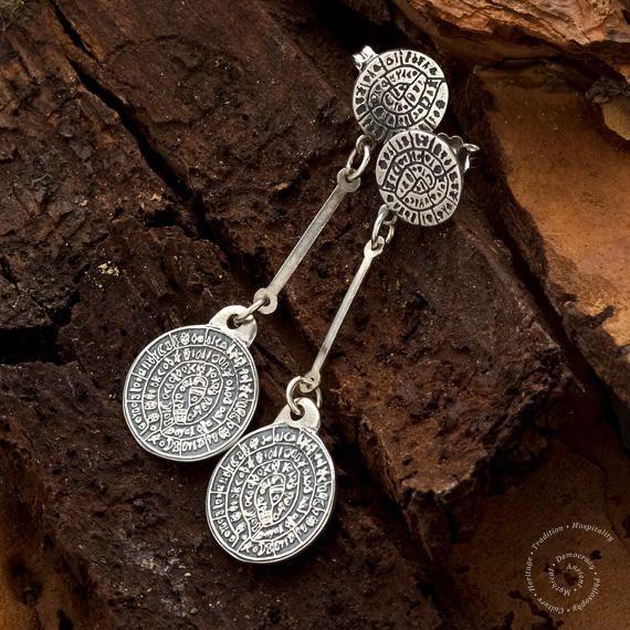 Phaistos Disc Sterling Silver Earrings, Greek Earrings, Silver Disc Earrings, Minoan Jewelry, Handmade Greek Jewelry, Phaistos Scheibe by CircleOfLifeGreece on Etsy