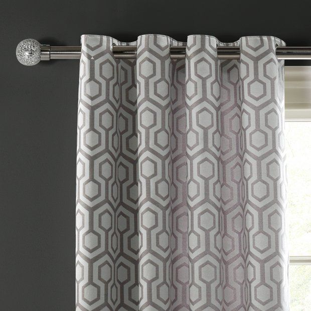Buy Argos Home Lined Eyelet Curtains 117x137cm Geometric At Argos Thousands Of Products For Same Day Delivery 3 95 Geometric Curtains Curtains Argos Home