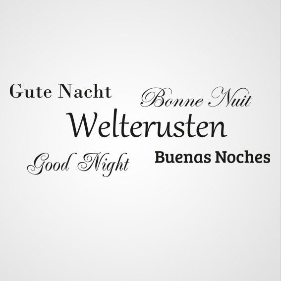 Welterusten in diverse talen 2 - Dewiha Art - Muursjablonen en Muurstickers