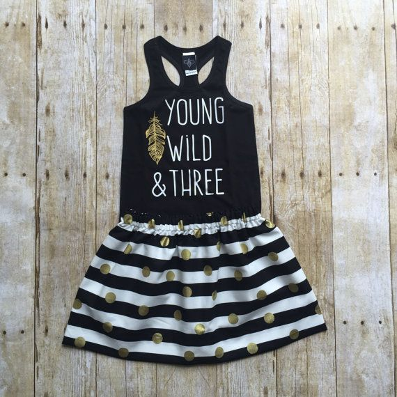 Girls Birthday outfit young wild & three  by WillowBeeApparel