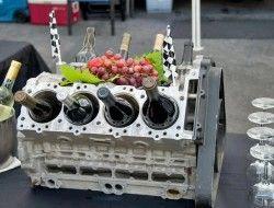 Repurposed Car Parts - Engine block wine rack