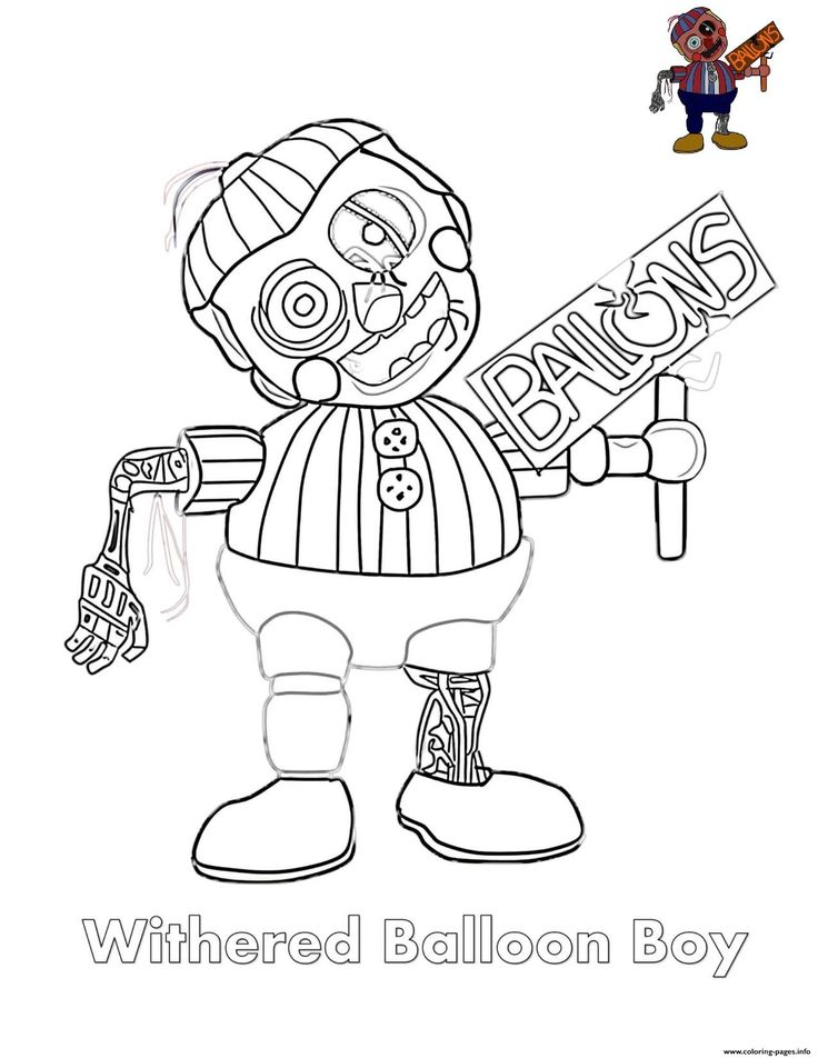 5 Nights at Freddy Coloring Pages withered Balloon Boy