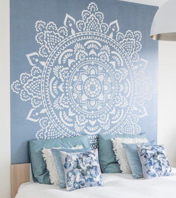 Big Holy mandala D.I.Y. behind a bed 184 x 184 centimeter