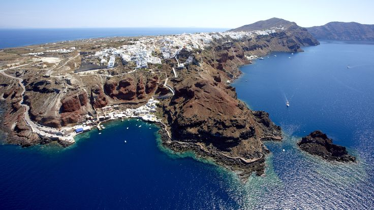 Santorini: cosmopolitan, traditional and romantic at the same time. Discover one of the most famous Greek destinations and explore white, red and black sand beaches, astonishing places and hotels. #Santorini #greek_islands #Cyclades #SouthAegean #Mediterranean #coastline #seaside #aerialphotos #aerialvideos #TrustYourEyes #TRIPinVIEW