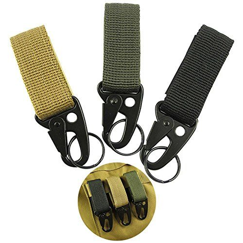 Nylon Tactical Molle Belt Carabiner Key Holder Camp Bag Hook Buckle Strap Clip