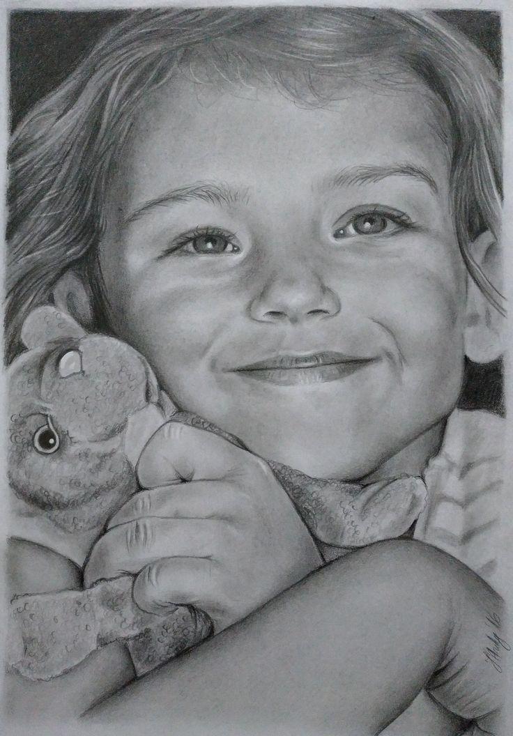 Child portrait pencil drawing