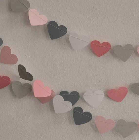 Paper Garland  Pink and Gray Hearts by ScoutAndAcadia on Etsy, $12.00