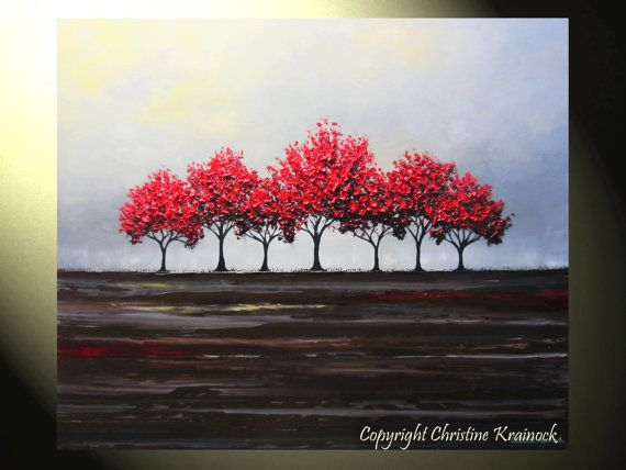 Hey, I found this really awesome Etsy listing at https://www.etsy.com/listing/182070097/original-art-abstract-painting-red-trees