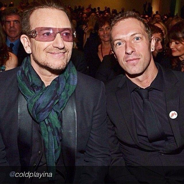 Bono from U2 with Chris Martin from Coldplay in New York City on November 23, 2013. #u2NewsActualite #u2NewsActualitePinterest