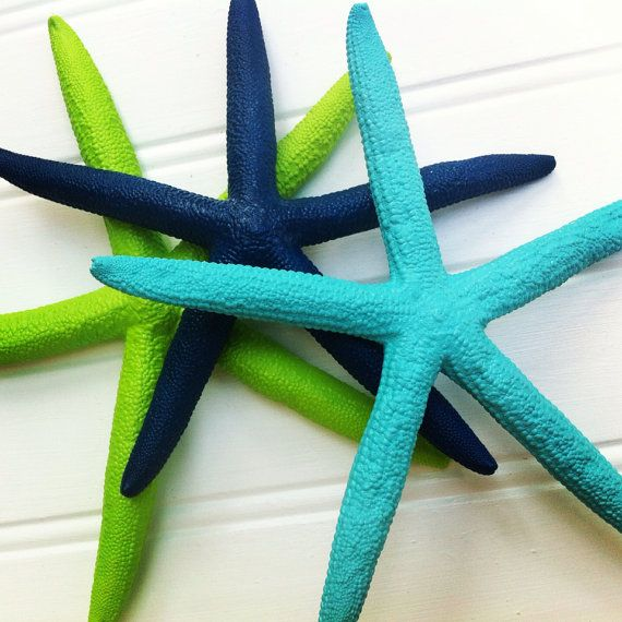 "Sea starfish set of 3 6"" painted navy blue aqua lime green tropical coastal island nautical beach lake house nursery decor mobil wedding"