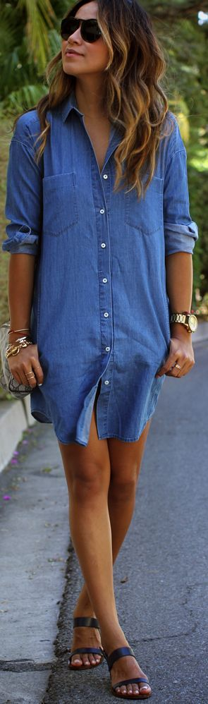 Everlane Blue Denim Button Up Shirt Dress by Sincerely Jules #HelloColor