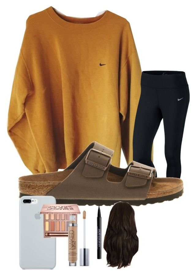 lazy day by avarat-jr-1 on Polyvore featuring NIKE, Birkenstock, ETUÍ and Urban Decay #schooloutfits