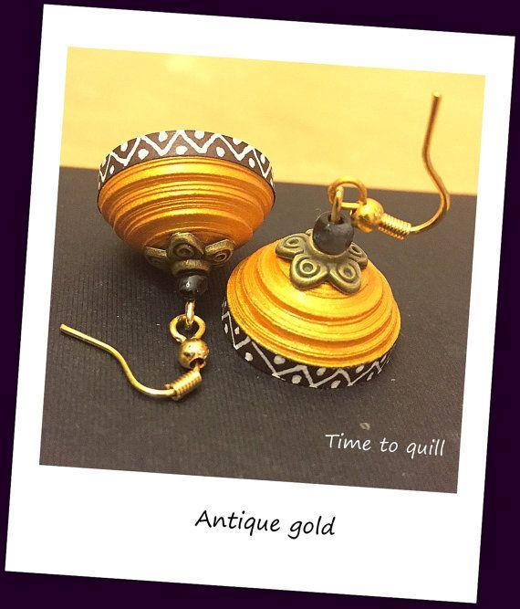 Paper quilled Jhumka- Golden