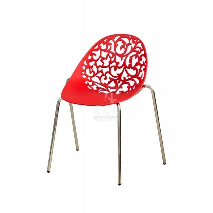Modern Red Openwork Chair