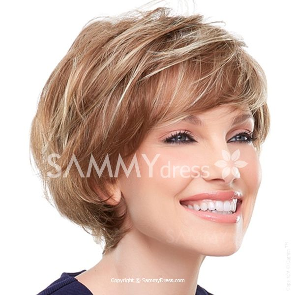 Vogue Blonde Mixed Brown Capless Natural Wavy Elegant Fluffy Short Side Bang Synthetic Women's Wig