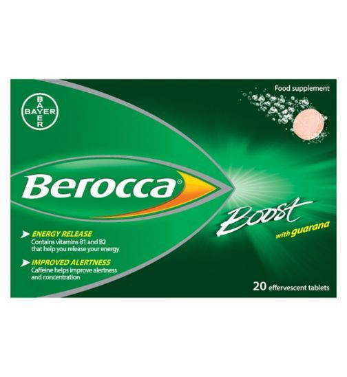 Berocca Boost Effervescent Tablets with sweetener - 20 - Boots Berocca Boost Effervescent Tablets with sweetener - 20 5973260 £10.89 or 1,089 points 20 UNI £0.54 per 1UNI
