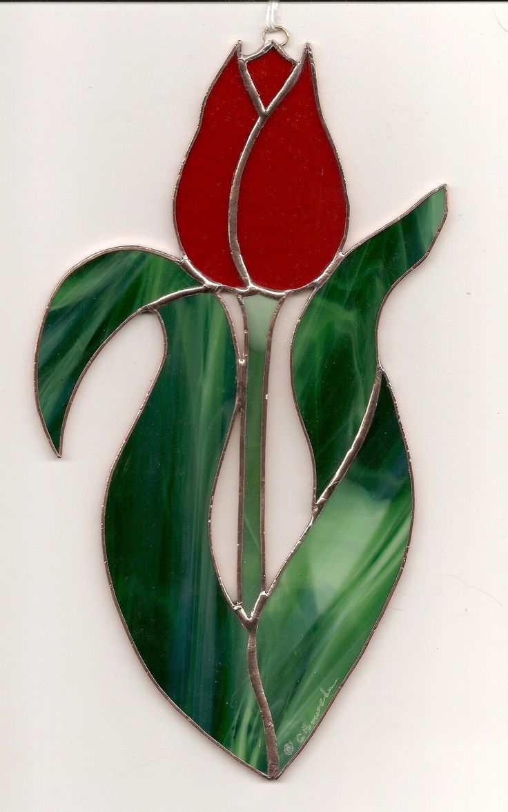 Stained Glass Flower,TULIP Red SUNCATCHER (T031) picclick.com
