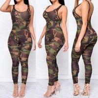 Wish | Camouflage Jumpsuit Women Sexy Sleeveless Bodysuit