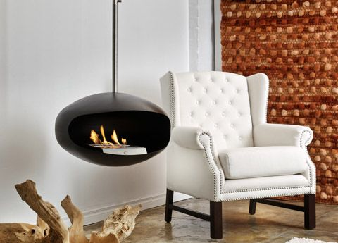 Go modern cocoon aeris hanging bio-ethanol fire place £2290 60cm across x 38cm high. Weight 15kg 6 height positions • Full extension: 142cm,