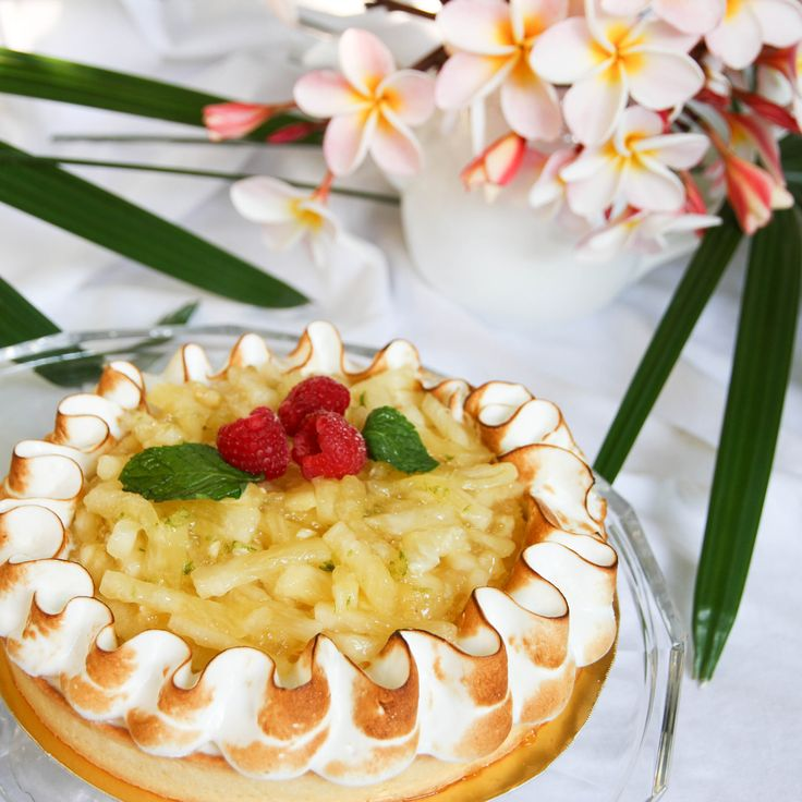From Le Cordon Bleu Intermediate Pastry: Creole Tart. With exotic fruits like fresh Pineapple, this tart is so decadent!