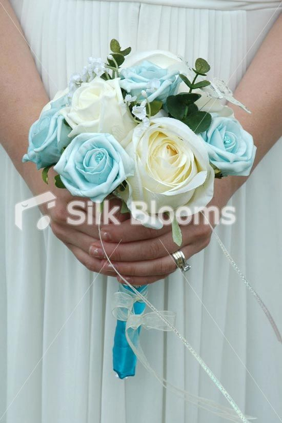 Luxury Baby Blue Ivory Bridesmaids Crystal Wedding Bouquet