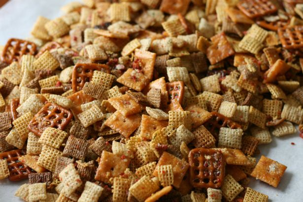 Slow Cooker Cheesy Bacon Chex Mix. I made this in the oven, as my crock pot was already in use. It was delicious, a definite crowd pleaser!