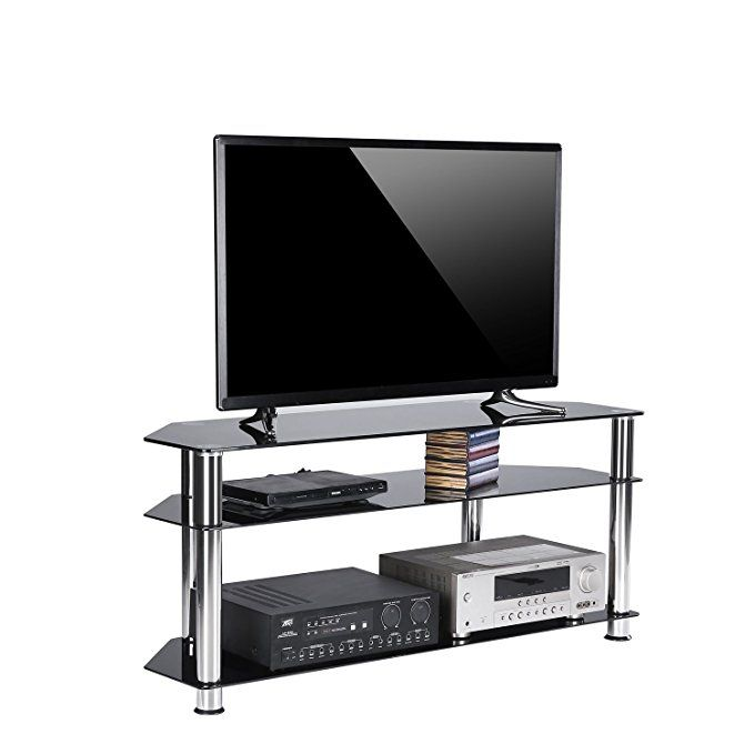 Rfiver Black Tempered Glass Corner Tv Stand Suit For Led Lcd