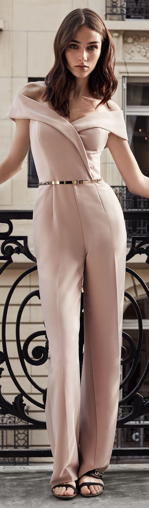 Adina Off-The-Shoulder Jumpsuit in Pink Linen