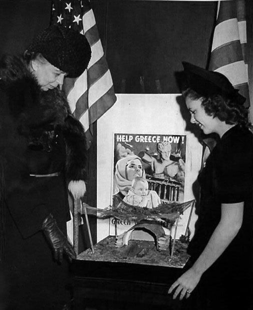 First lady Eleanor Roosevelt and Judy Garland at the Greek War Relief headquarters in New York. March, 1941.