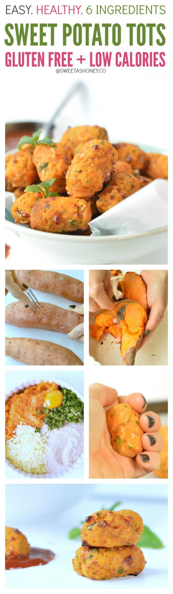 Baked sweet potato tots using mashed sweet potato. A great healthy snack for kids lunchbox or low calorie snacks, appetizer with only 24 calorie per tot.